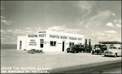 Vecchia foto del Painted Desert Trading Post presa dal web